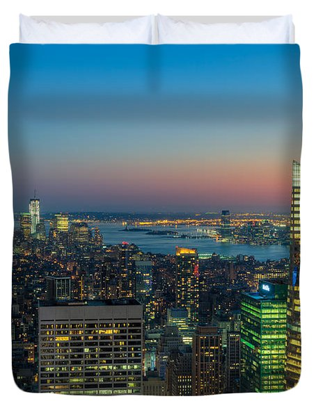 Top Of The Rock Twilight I Duvet Cover