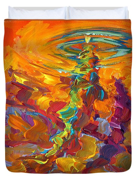 Topwater Trout Abstract Tour Study Duvet Cover by Savlen Art