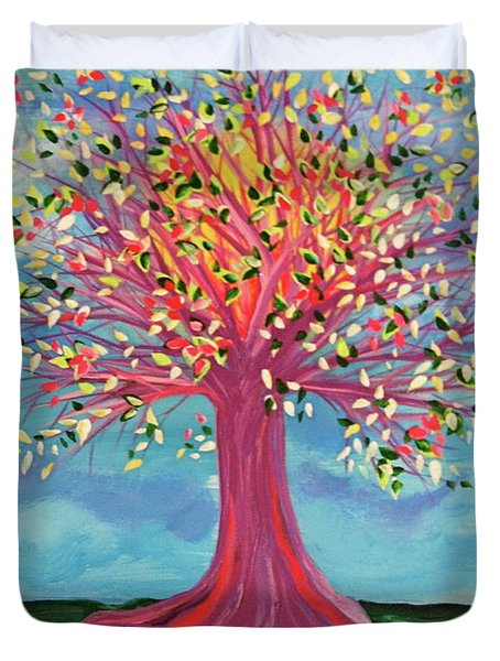 Duvet Cover featuring the painting Tori's Tree By Jrr by First Star Art