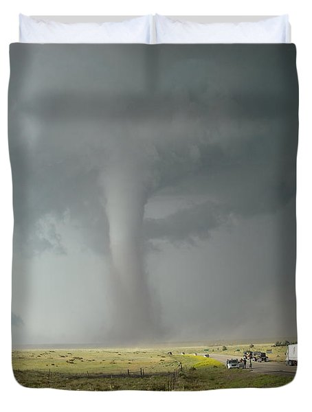 Tornado Truck Stop Duvet Cover by Ed Sweeney