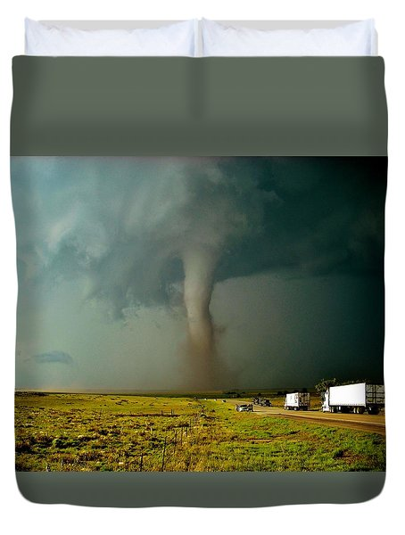 Duvet Cover featuring the photograph Tornado Truck Stop II by Ed Sweeney