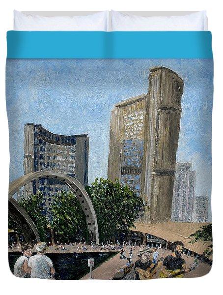 Toronto City Hall Duvet Cover by Ian  MacDonald