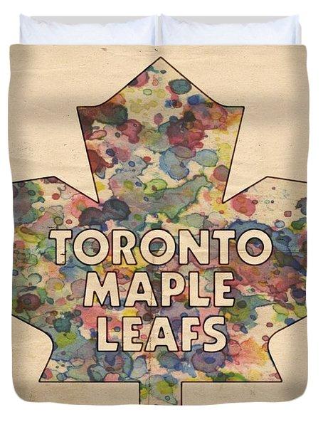 Toronto Maple Leafs Hockey Poster Duvet Cover by Florian Rodarte