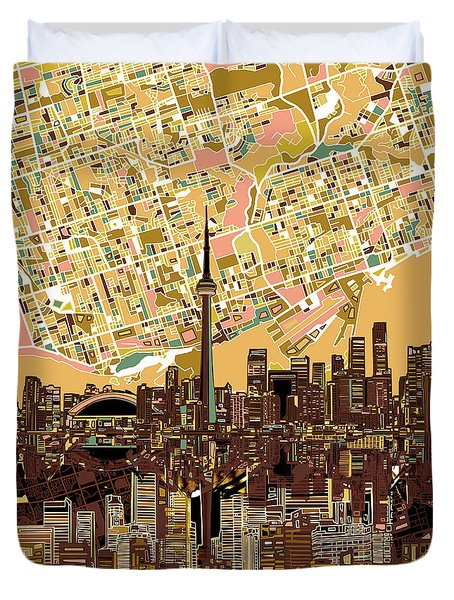 Toronto Skyline Abstract 9 Duvet Cover