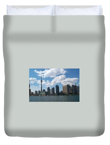 Duvet Cover featuring the photograph Toronto Skyline by Barbara McDevitt