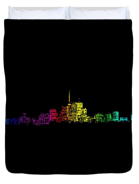 Duvet Cover featuring the digital art Toronto Skyline Gradient by Brian Carson