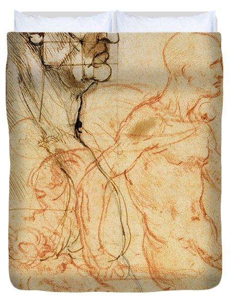 Torso Of A Man In Profile Duvet Cover by Leonardo da Vinci