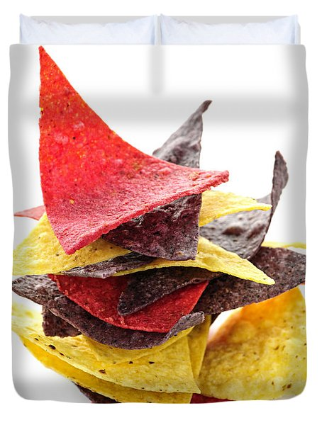 Tortilla Chips Duvet Cover by Elena Elisseeva