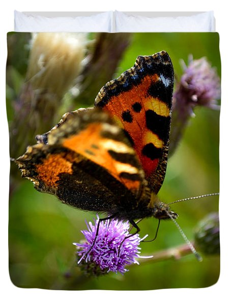 Tortoise Shell Butterfly Duvet Cover by Scott Lyons