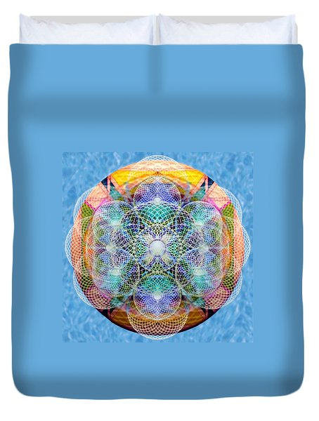 Duvet Cover featuring the digital art Torusphere Synthesis Cell Firing Soulin IIi by Christopher Pringer