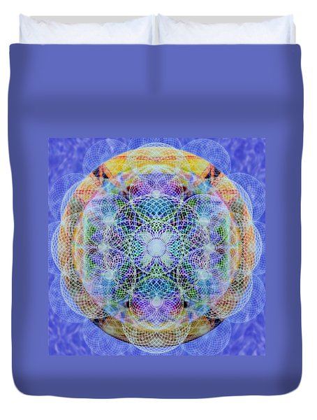 Duvet Cover featuring the digital art Torusphere Synthesis Interdimensioning Soulin Iv by Christopher Pringer