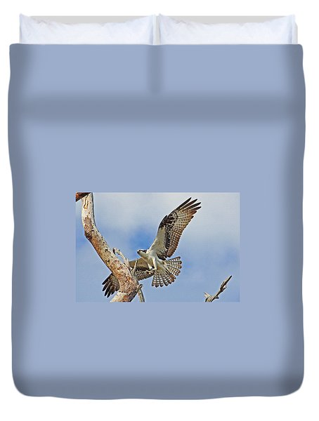 Touch Down - Osprey In Flight Duvet Cover