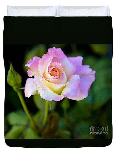 Duvet Cover featuring the photograph Rose-touch Me Softly by David Millenheft