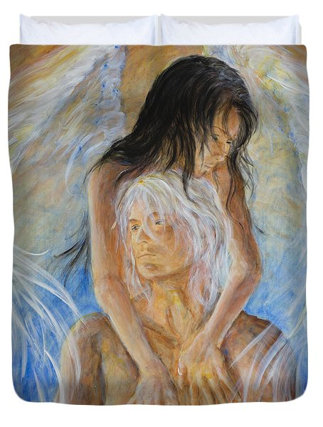 Duvet Cover featuring the painting Touch Of An Angel by Nik Helbig