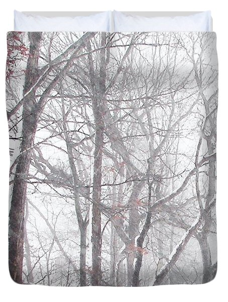 Touch Of Fall In Winter Fog Duvet Cover