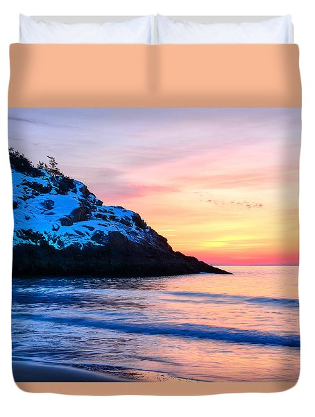 Touch Of Snow Singing Beach Duvet Cover by Michael Hubley