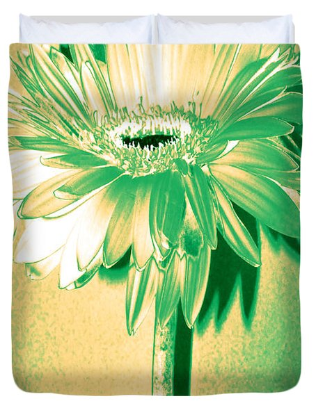 Touch Of Turquoise Zinnia Duvet Cover