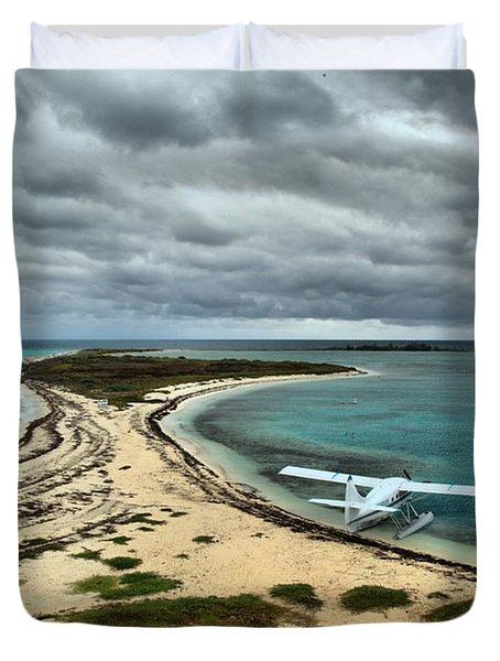 Touchdown At Tortugas Duvet Cover by Adam Jewell