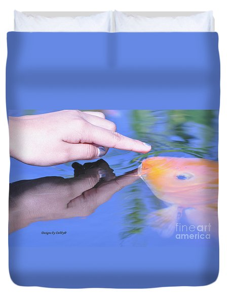 Touching The Koi.  Duvet Cover