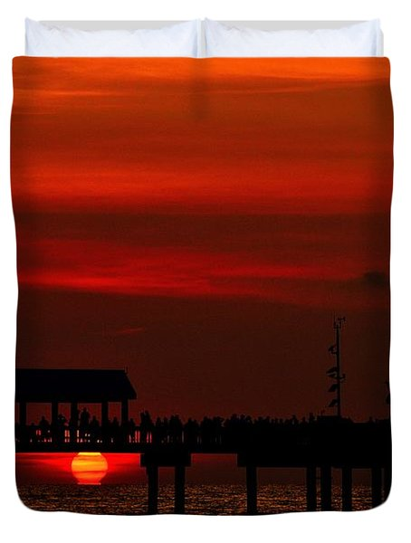 Duvet Cover featuring the photograph Touching The Sunset by Richard Zentner