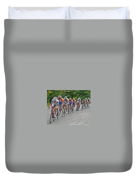 Duvet Cover featuring the photograph Tour Of Missouri Downhill 2009 by Christopher McKenzie