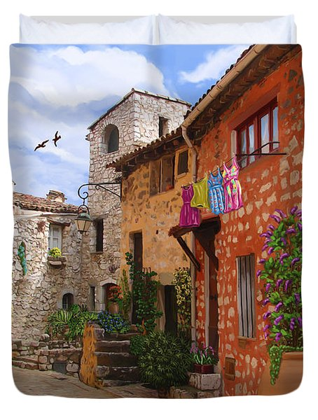 Duvet Cover featuring the painting Tourettes Sur Loup France by Tim Gilliland