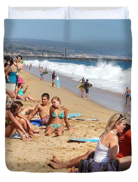 Tourist At Beach Duvet Cover