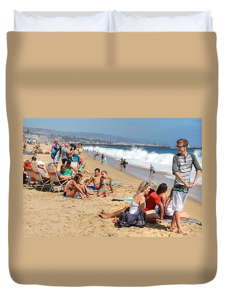 Tourist At Beach Duvet Cover