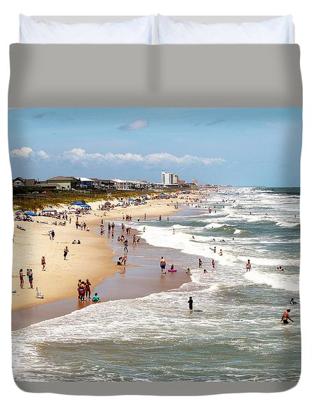 Tourist At Kure Beach Duvet Cover