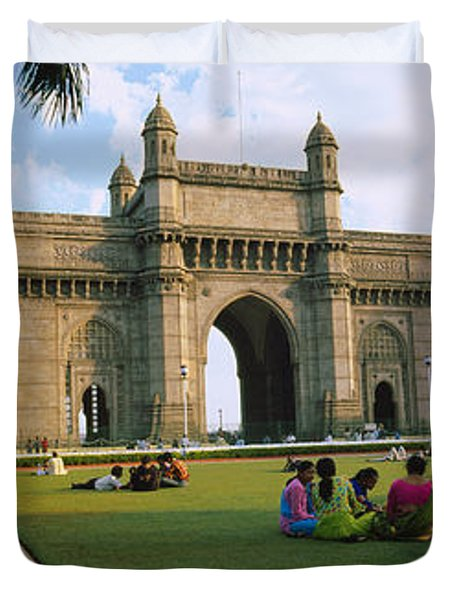 Tourist In Front Of A Monument, Gateway Duvet Cover