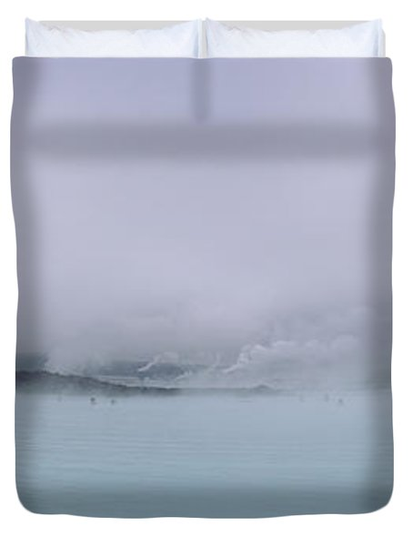 Tourist Swimming In A Thermal Pool Duvet Cover
