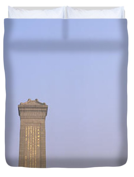 Tourists In Front Of A Monument Duvet Cover