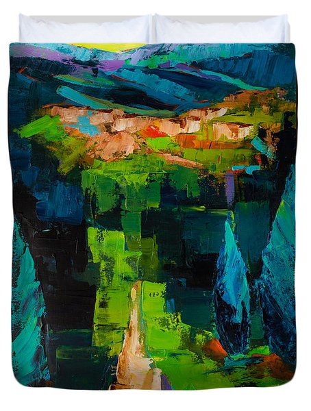 Duvet Cover featuring the painting Toward The Tuscan Village by Elise Palmigiani