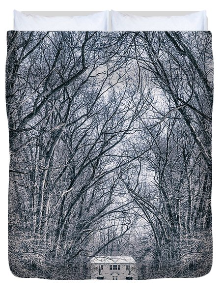 Towards The Lonely Path Of Winter Duvet Cover
