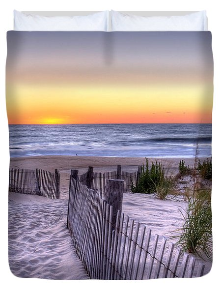 Tower Beach Sunrise Duvet Cover