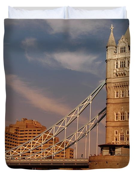 Tower Bridge Sunset Duvet Cover by Jonah  Anderson