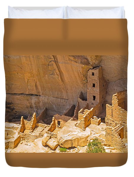 Tower House Panorama In Mesa Verde Duvet Cover