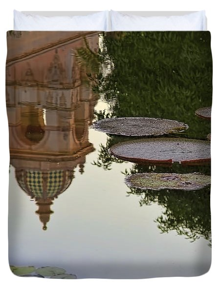Duvet Cover featuring the photograph Tower In Lotus Position by Gary Holmes