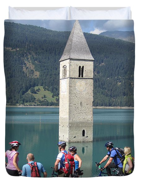Tower In The Lake Duvet Cover
