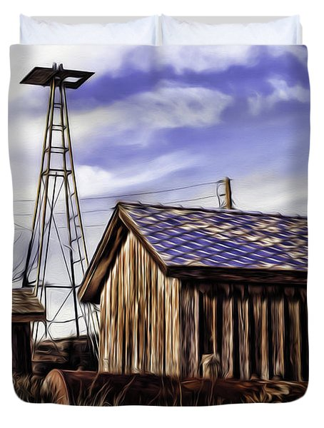 Duvet Cover featuring the painting Tower by Muhie Kanawati