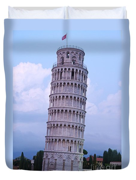 Duvet Cover featuring the photograph Tower Of Pisa - Evening Light by Phil Banks
