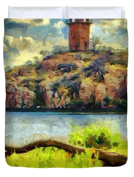 Tower On The Bluff Duvet Cover by Jeffrey Kolker