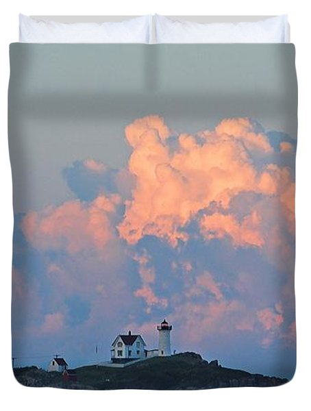 Towering Clouds Over Nubble Lighthouse York Maine Duvet Cover