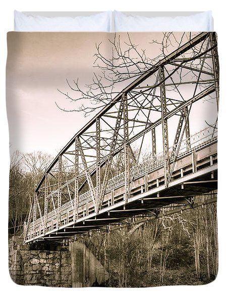 Town Bridge Collinsville Connecticut Duvet Cover by Brian Caldwell