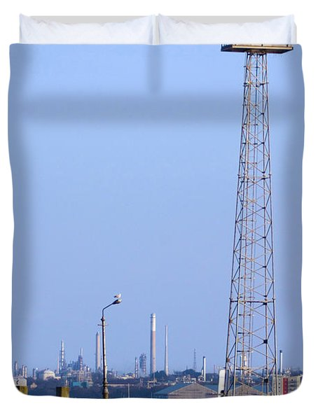 Town Quay Navigation Marker And Fawley Duvet Cover by Terri Waters