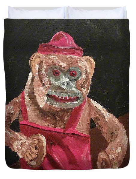 Duvet Cover featuring the painting Toy Monkey With Cymbals by Joshua Redman