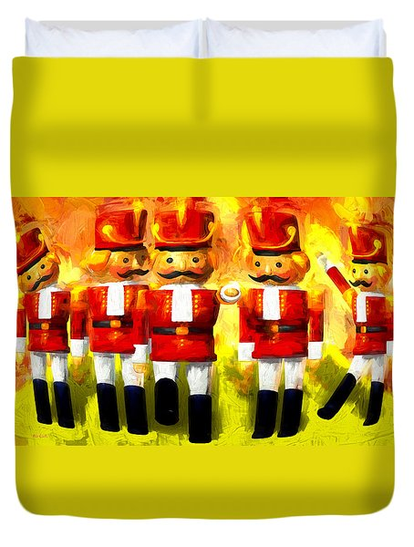 Toy Soldiers Nutcracker Duvet Cover by Bob Orsillo