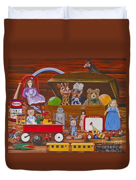 Duvet Cover featuring the painting Toys In The Attic by Jennifer Lake