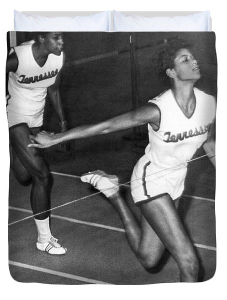 Track Star Wilma Rudolph Duvet Cover