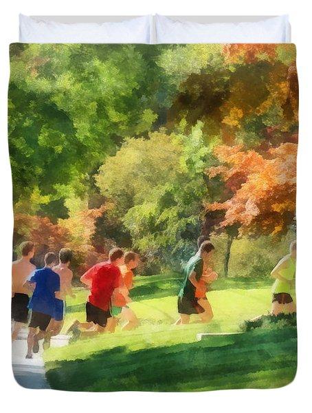Track Team Duvet Cover by Susan Savad